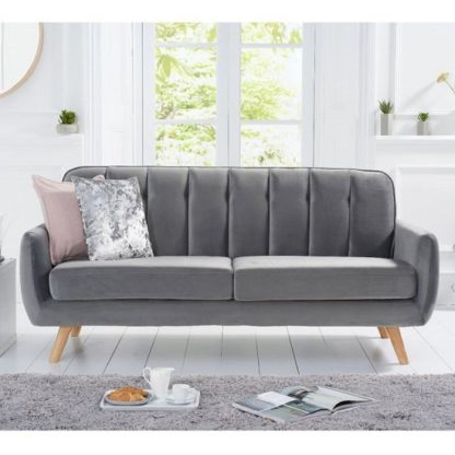An Image of Rickey Velvet Three Seater Sofa In Grey With Solid Wood Legs