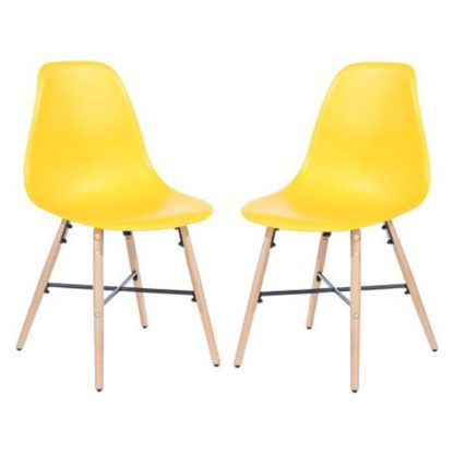 An Image of Arturo Yellow Bistro Chair In Pair With Oak Wooden Legs