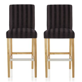 An Image of Alden Bar Stools In Aubergine Fabric And Oak Legs In A Pair
