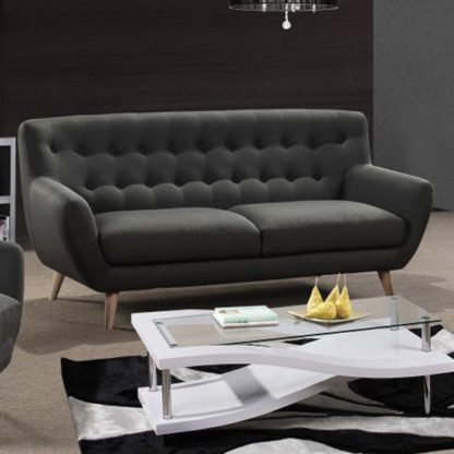 An Image of Rihanna Fabric Upholstered 3 Seater Sofa In Grey