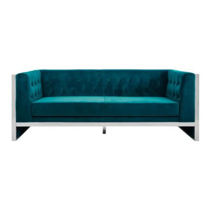An Image of Sceptrum 3 Seater Velvet Sofa In Teal