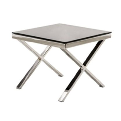 An Image of Zanti Black Glass Top Lamp Table With Chrome Base