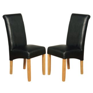 An Image of Sika Black Leather Air Dining Chair In Pair