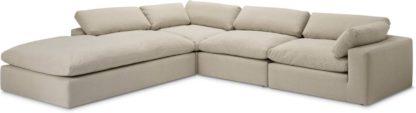 An Image of Samona Left Hand Facing Full Corner Sofa, Natural Cotton & Linen Mix