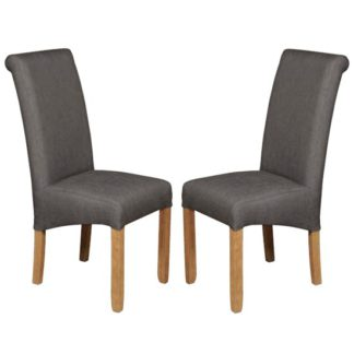 An Image of Sika Grey Fabric Dining Chair In Pair