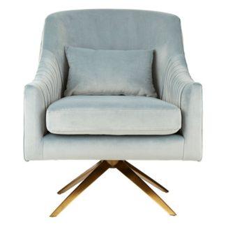 An Image of Mahasim Upholstered Velvet Bedroom Chair In Blue Finish
