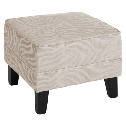 An Image of Wembley Foot Stool In Natural Fabric With Wooden Legs
