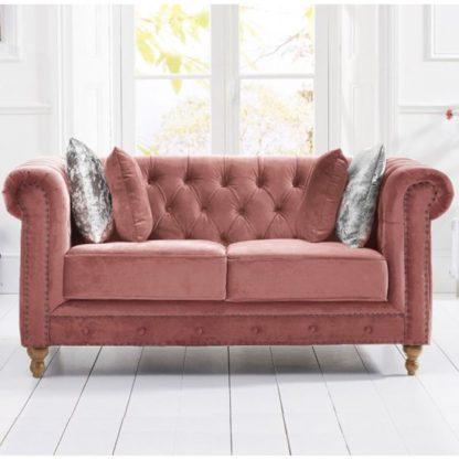 An Image of Propus Plush Fabric 2 Seater Sofa In Blush