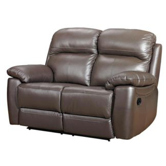 An Image of Aston Leather 2 Seater Fixed Sofa In Brown