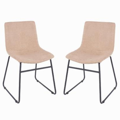 An Image of Arturo Sand Fabric Dining Chair In Pair With Black Metal Legs