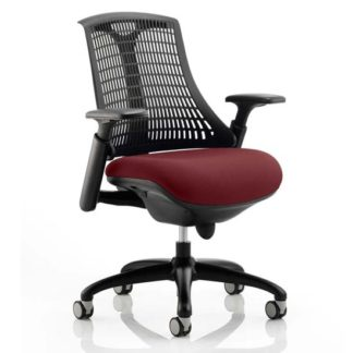 An Image of Flex Task Black Back Office Chair With Ginseng Chilli Seat
