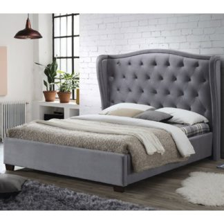 An Image of Lauren Fabric King Size Bed In Grey