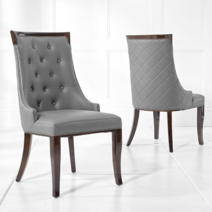 An Image of Tulip Dining Chair In Grey PU And Dark High Gloss Legs In A Pair