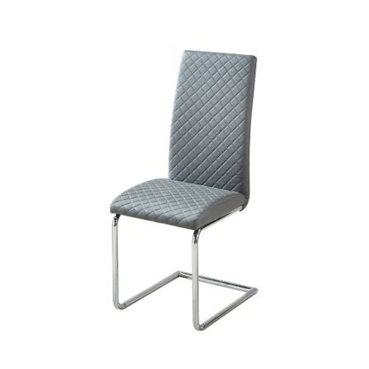 An Image of Ronn Dining Chair In Grey Faux Leather With Chrome Legs