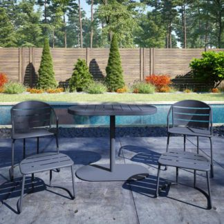 An Image of Cosco Steel Set Of 5 Patio Bistro Set In Grey