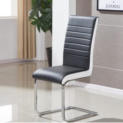 An Image of Symphony Dining Chair In Black And White PU With Chrome Base