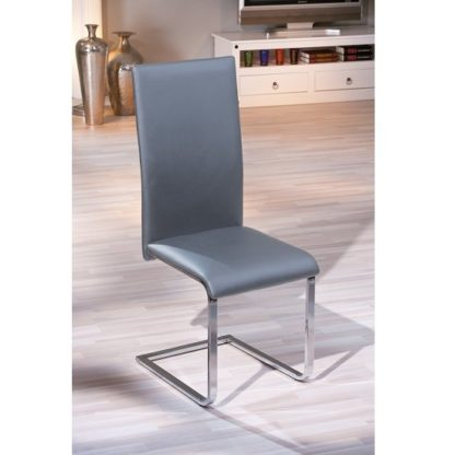 An Image of Bronte Dining Chair In Grey Faux Leather With Chrome Base