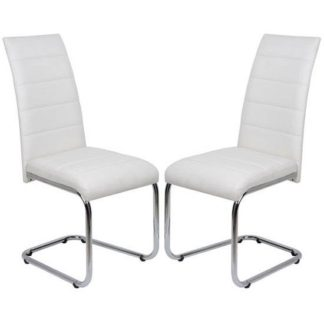 An Image of Daryl Dining Chair In White PU Leather in A Pair