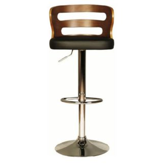 An Image of Dupont Bar Stool In Black PU And Walnut With Chrome Plated Base