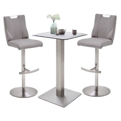 An Image of Soho Glass Bar Table With 2 Jiulia Ice Grey Leather Stools
