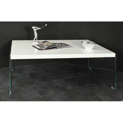 An Image of Olymp High Gloss Coffee Table In White With Glass Legs