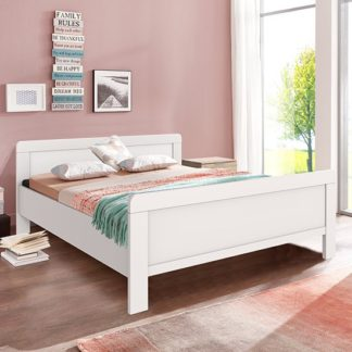 An Image of Newport Wooden Double Bed In White