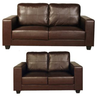 An Image of Okul Faux Leather 3 Seater Sofa And 2 Seater Sofa Suite In Brown