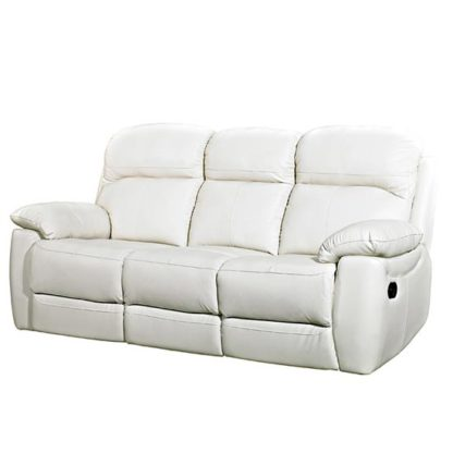An Image of Aston Leather 3 Seater Fixed Sofa In Ivory