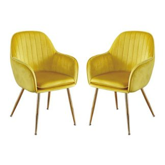 An Image of Lara Yellow Dining Chair With Gold Legs In Pair