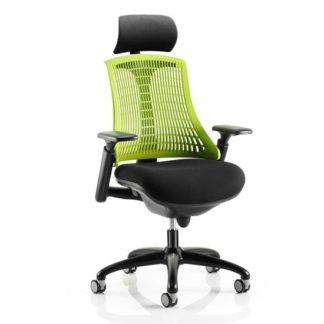 An Image of Flex Task Headrest Office Chair In Black Frame With Green Back