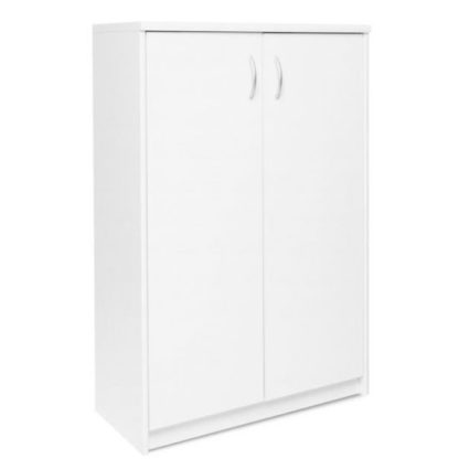 An Image of Aquarius Small Shoe Storage Cabinet In White With 2 Doors