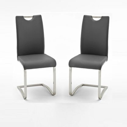 An Image of Koln Dining Chair In Grey Faux Leather in A Pair