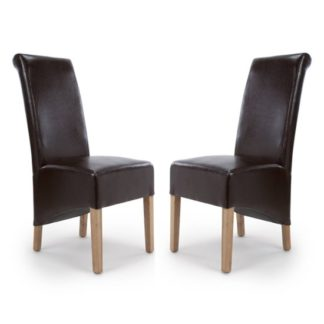 An Image of Krista Roll Back Bonded Leather Brown Dining Chairs In Pair