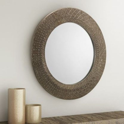 An Image of Cadence Small Round Ornate Wall Mirror In Pewter
