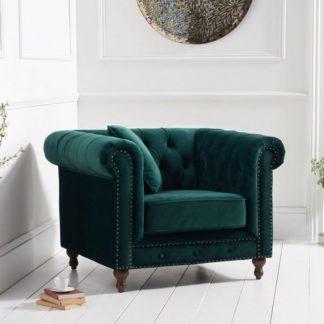 An Image of Mentor Modern Fabric Sofa Chair In Green Plush
