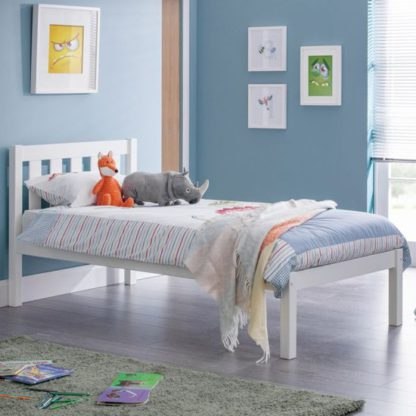 An Image of Luna Wooden Single Bed In Surf White