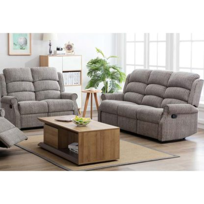 An Image of Tegmine 3 Seater Sofa And 2 Seater Sofa Reclining Suite In Latte