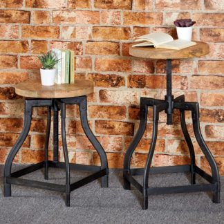 An Image of Clio Wooden Stool Round In Reclaimed Wood And Metal