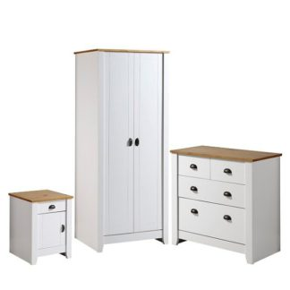 An Image of Gibson Wooden Bedroom Furniture Set In White And Oak