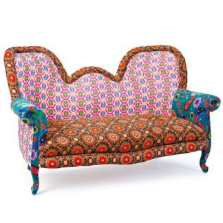 An Image of India Style Fabric Sofa Patchwork Style Multicoloured