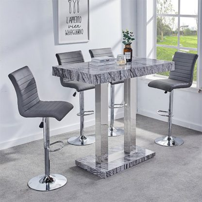 An Image of Melange Gloss Marble Effect Bar Table And 4 Ripple Grey Stools