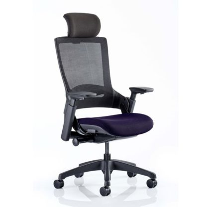 An Image of Molet Black Back Headrest Office Chair With Tansy Purple Seat