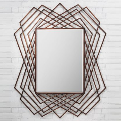An Image of Spectre Geometric Wall Mirror In Burnished Copper
