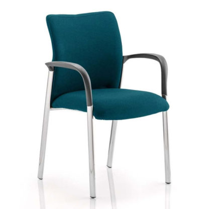 An Image of Academy Fabric Back Visitor Chair In Maringa Teal With Arms
