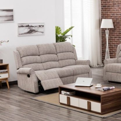 An Image of Curtis Fabric Recliner 3 Seater Sofa In Natural
