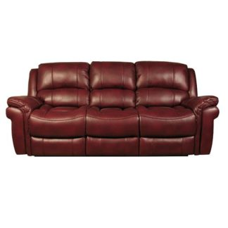 An Image of Claton Recliner 3 Seater Sofa In Burgundy Faux Leather