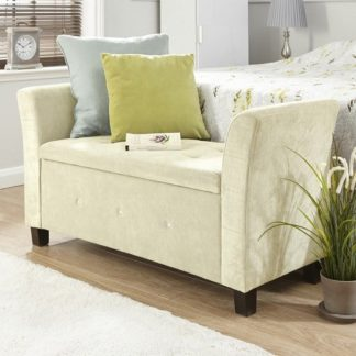 An Image of Charter Modern Fabric Ottoman Seat In Natural With Diamante