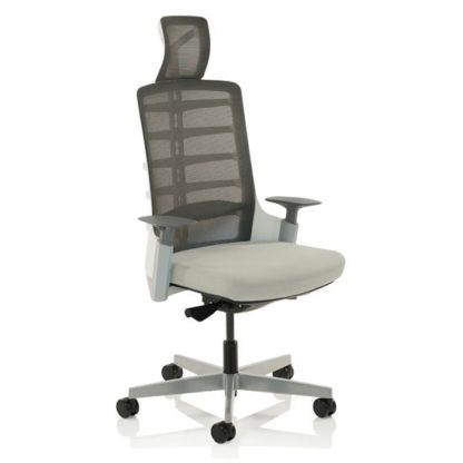 An Image of Exo Fabric Charcoal Grey Back Office Chair With Light Grey Seat