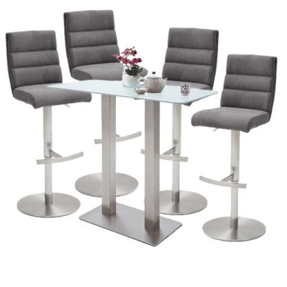 An Image of Soho White Glass Bar Table With 4 Hiulia Fabric Anthracite Stool