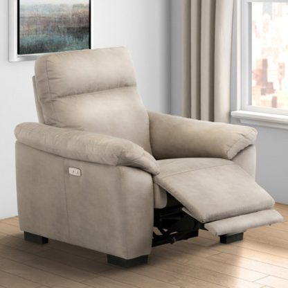 An Image of Farrow Fabric Electric Recliner Armchair In Natural